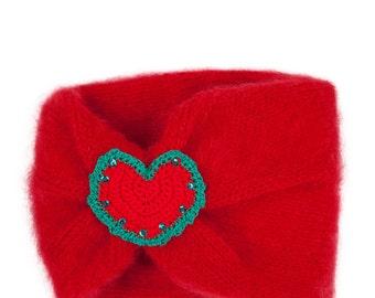 Scarlet Heart Knit Snood With Crochet Heart