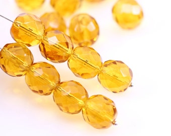 10 Pc Topaz Beads, Amber Beads, Faceted Round Beads, Golden Topaz, Fire-polished, Czech Glass Beads, 10 mm - CB21