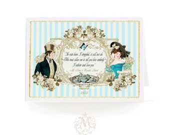 Jane Austen, quote, greeting card, romantic card, anniversary, wedding, engagement, valentine card, Pride and Prejudice, blue, gold