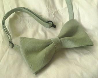 Agnes sage green dupioni silk bow tie