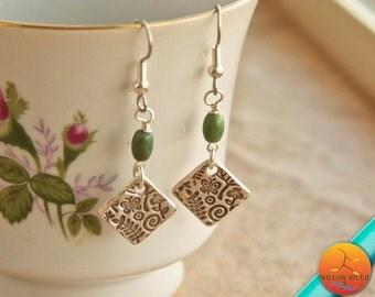 Fine Silver Drop Earrings, Small Dangle Earrings, Fine Silver, Petite & Light, Woodland Theme, Natural fancy jasper