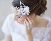 lilac bridal hair accessories, floral circlet, peach, lavender flower hair accessory, flower circlet, bridal hairpiece, wedding headpiece