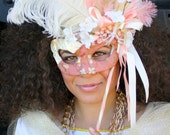 Madame Pompadour - Light Up Masquerade Mask in Romantic Blushed Coral and Ivory - OOAK