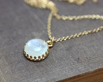Rainbow Moonstone Necklace Crown Bezel Set Gold Chain Moonstone Cabochon Necklace 12mm