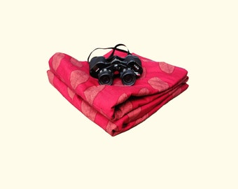 Picnic Blanket- Vintage Marimekko Cotton in Marsala Red- Quilted Portable Blanket- Personalized Gift for Men