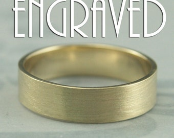 Solid 14K Yellow Gold Flat Wedding Band-5mm Straight and Narrow Men's Wedding Band-Wide Gold Ring-Modern Wedding Band-Personalized Engraving