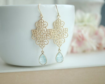 Gold Boho Filigree Aqua Blue Crackled Glass Drops Chandelier Earring. Sister, Maid of Honor. Bridesmaids Gift. Blue Bridal, Something Blue