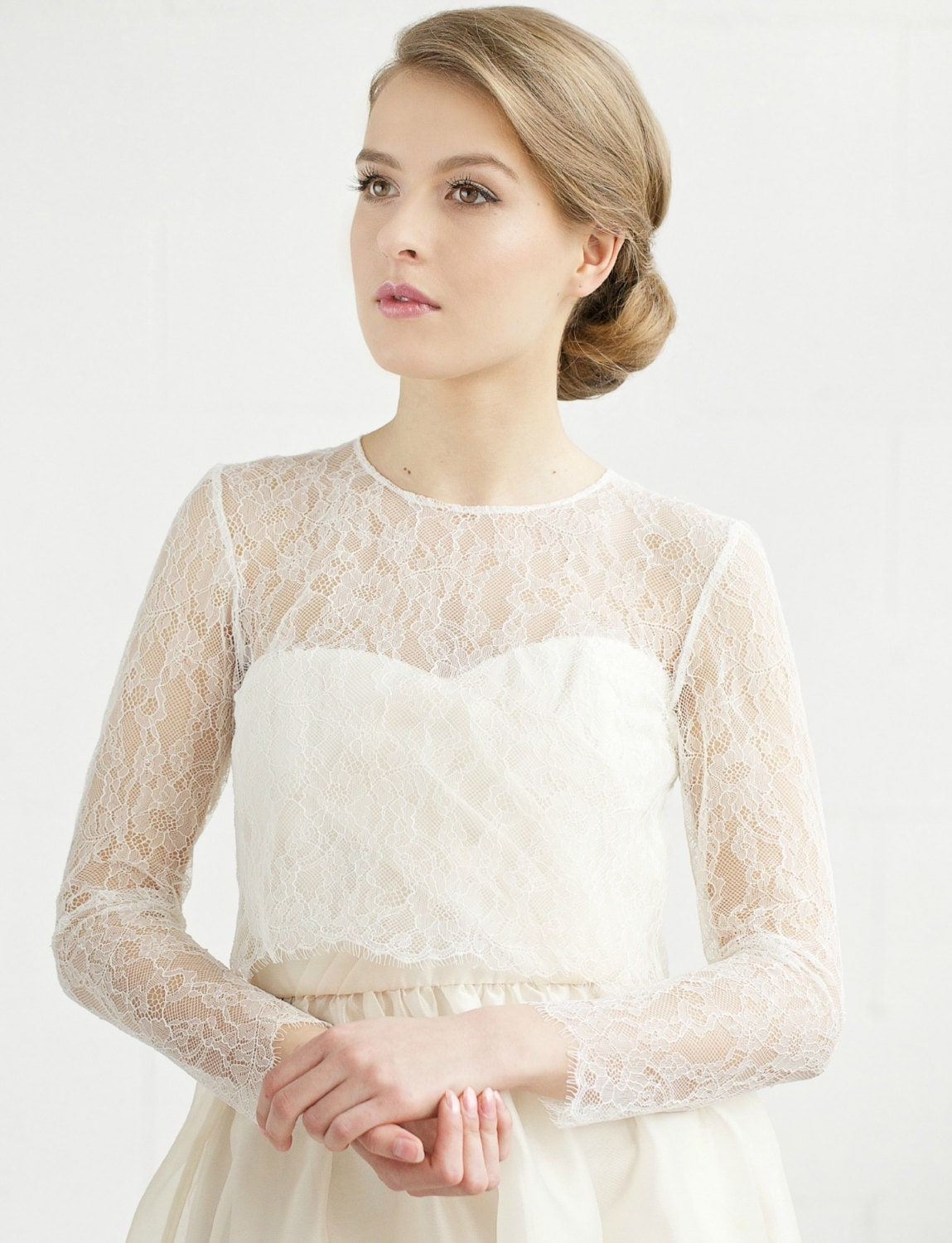 Wedding lace top bridal lace cover up bridal by for Long sleeve wedding dress topper