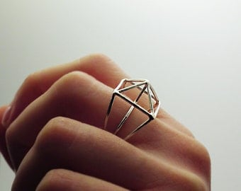 Sterling Silver Ring, Geo Silver Ring, Architecture Ring, Silver Structure Ring
