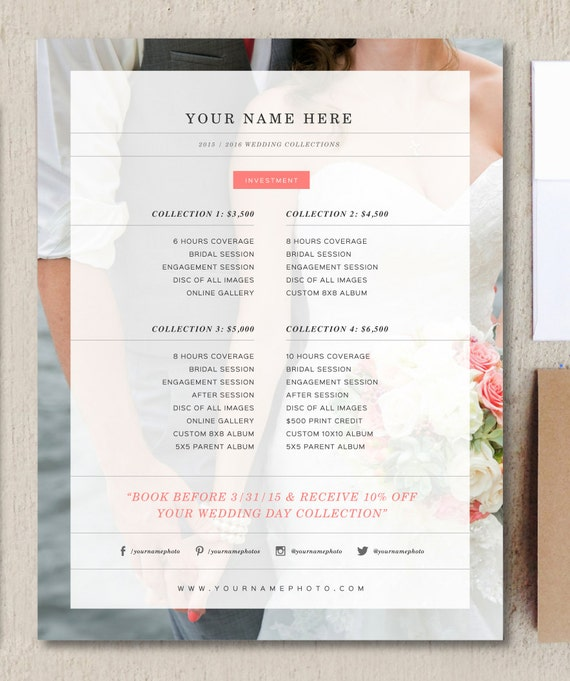 photography pricing template wedding price by