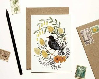 Black Bird with Yellow Floral Card
