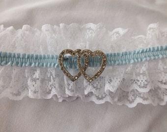 Wedding Garter, Bridal Garter Set, Vintage Double Heart Brooch, Lace Bridal Garter Set