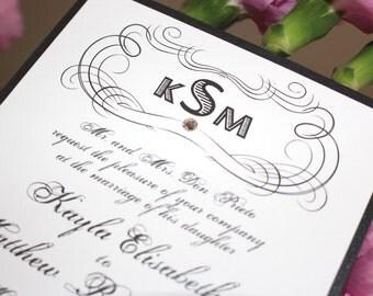 Wedding Invitation Sets, Scroll Wedding Invites, Black and White Wedding, Modern Vintage Wedding Invitations, The Kayla Invite Sample