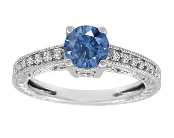 Fancy Blue Diamond Engagement Ring 14K White Gold 1.00 Carat Antique Vintage Style Engraved handmade