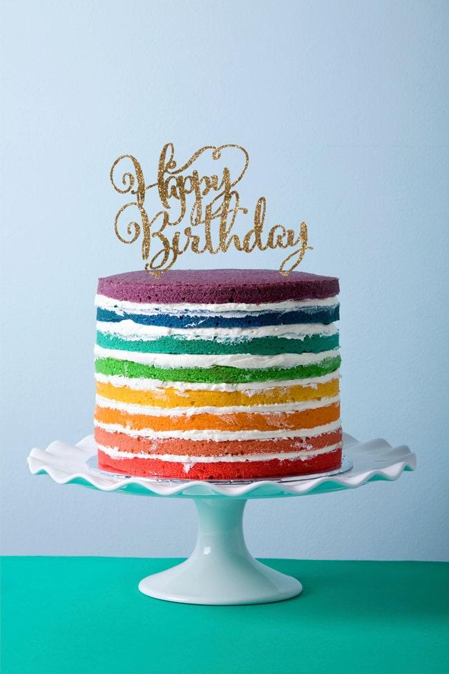 Birthday Cake Images Glitter : Birthday Cake Topper in Glitter Happy Birthday Calligraphy