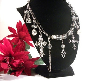 Silver Crosses Wild Charm Necklace Jewelry Gift Ideas for Women