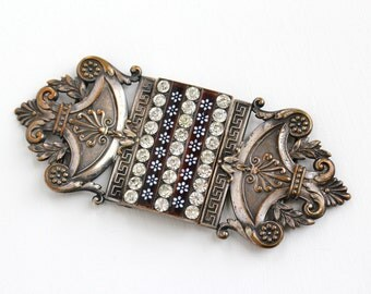 Sale - Antique Silver Plated French Rhinestone Sash Buckle - Art Nouveau 1910s PF Piel Freres Rare Brown White Enamel Flower Costume Jewelry