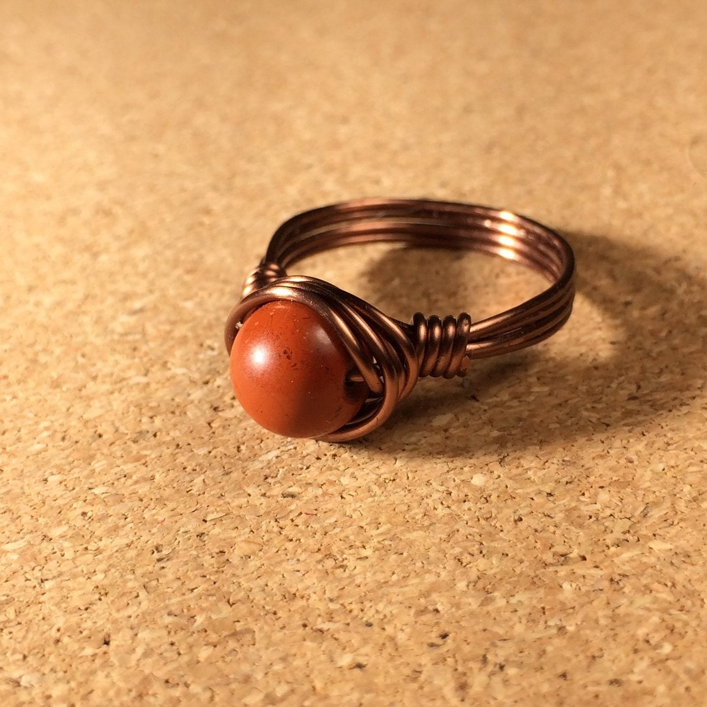3 8 Red Stone : Size red jasper stone ring antique copper wire wrapped