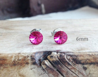Get 15% OFF - 6mm Swarovski Crystal, Fuchsia Pink Crystal Silver Surgical Steel Post Earrings - Labor Day SALE 2016