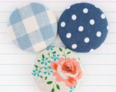 Flat Back Craft Buttons, Floral Linen, Gingham, Polka Dot Fabric, Fabric Covered Large Metal Buttons, Tea Party Mix 'n' Match (28mm) x 3