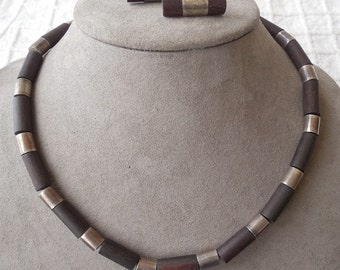 WILLIAM SPRATLING Signed  Sterling Silver & Rosewood Necklace and Earrings Set Taxco, Mexico