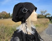 BOHO Clothing Cloche Slouchy Beanie Womens Brown Tribal Print Knit Hat Black leather trim / Buckle Baggy Big Head Tam Hat A1562