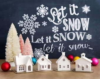 DIY Putz Village Ornament Kit 2014 Christmas Glitter House Decorations Set of 4