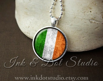 Rustic Irish Flag Necklace, Ireland Flag Necklace, Irish Flag Pendant, St Patrick's Day, Irish Pride