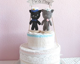 Cat Cake Topper, Mr and Mrs Wedding Cake topper, Marine Wedding