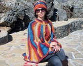 Hand Knit Long Cape, Poncho, Walking Length Multicolor Outerwear. Knit kit. Hand Knit Hat, Beanie. Knit set.