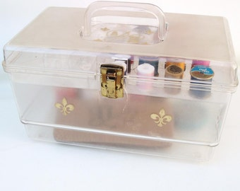 Vintage Sewing Box with Sewing Supplies Clear Plastic Hinged Box Gold Fleur de Lis Seamstress Case and Contents