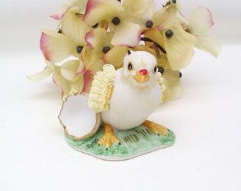 Vintage Dresden Figurine   LIttle Chick   Chicken Decor   Dresden China   Chick and Egg   Animal Figurine