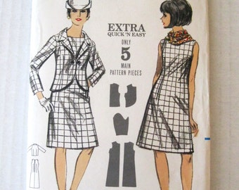 1960s Dress and Jacket Pattern, Butterick 3613, Womens Sleeveless A Line Dress and Cutaway Jacket Pattern, Mod, Career, Size 12, Bust 32