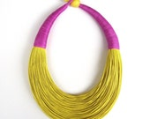 Statement Fiber Necklace, Minimalist Jewelry,  Trending Necklace, Bold Necklace