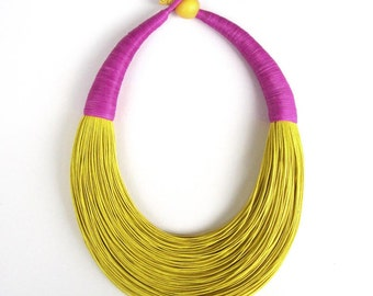 Statement Fiber Necklace, Minimalist Jewelry,  Trending Necklace, Bold Necklace