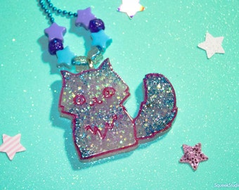 Glitter Kitty Pastel Resin Necklace