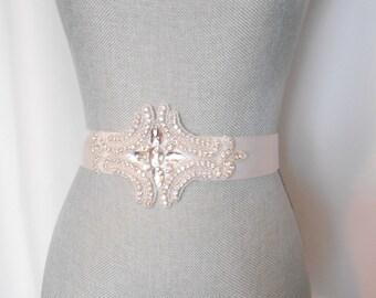 Bridal Sash, Evening Beaded Sash Evening . Wedding Dress Sash, Rhinestone and Crystals Sash Belt Crystals and Satin Tie. A Beautiful Sash