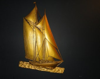 Large Gold Syroco Ship Wall Hanging Plaque