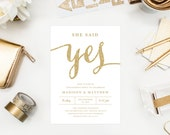 She Said Yes in White Engagement Party Invitation