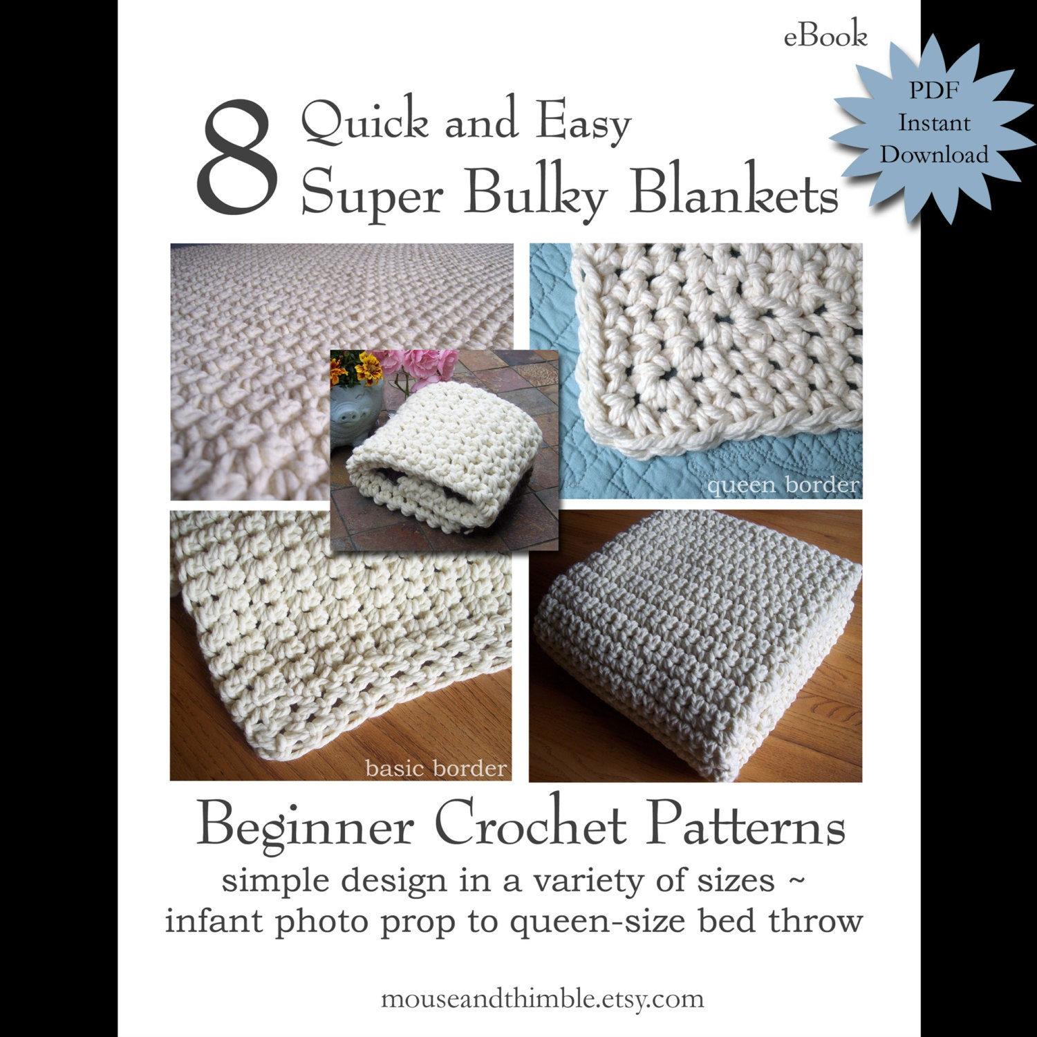 Quick Crochet Patterns For Beginners : Quick & Bulky Blankets Beginner Crochet PATTERNS eBOOK 8