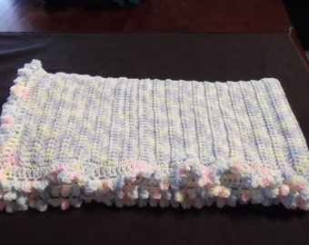 Baby Afghan In Pastel and White For Baby Girl or Boy 35 x 36