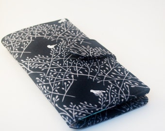 Handmade Wallet, Women's Fabric Vegan Wallet, Black and Grey, Birds and Branches