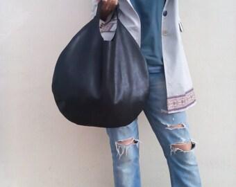 Hobo bag/ Leather hobo bag/ Black leather bag/ Shoulder bag