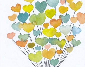 Watercolor Hearts, Original Watercolor Painting,4x6, balloons, teal, blue, green, tangerine, orange, yellow, love, nursery art