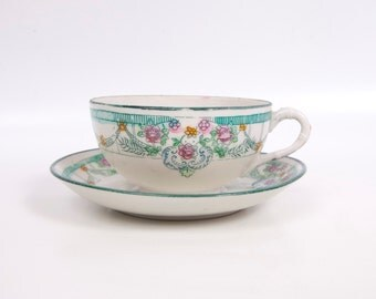Vintage Nippon Tea Cup Saucer Japan Egg Shell China Hand Painted Turquoise Pink Floral Design Asian Flower Design