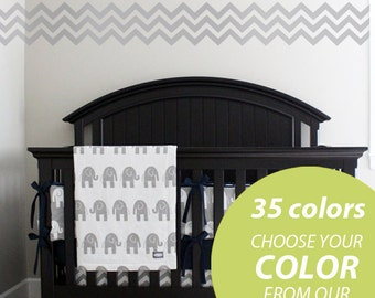 Chevron Wall Decal - Removable 12 ft long border - Coordinates with gray zig zag crib bedding and orange and navy crib bedding