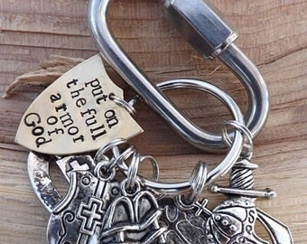 Put on the Full Armor Of God, Ephesians 6 Scripture Keychain Christian, Hand-stamped Armour of God Key Ring, Christian Man, Christmas Gift