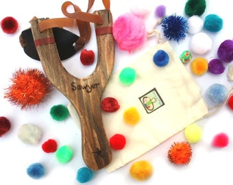 Personalized Sling Shot - Outdoor Toys - Classic Wooden Toys - Waldorf Slingshot Toys - Montessori Toys - Summer Vacation Toys