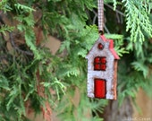Reserved listing - Christmas tree branch ornament, handmade clay house, holidays decoration