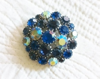 Vintage Cottage Home French Blue and Aquamarine Rhinestone Brooch, Olives and Doves